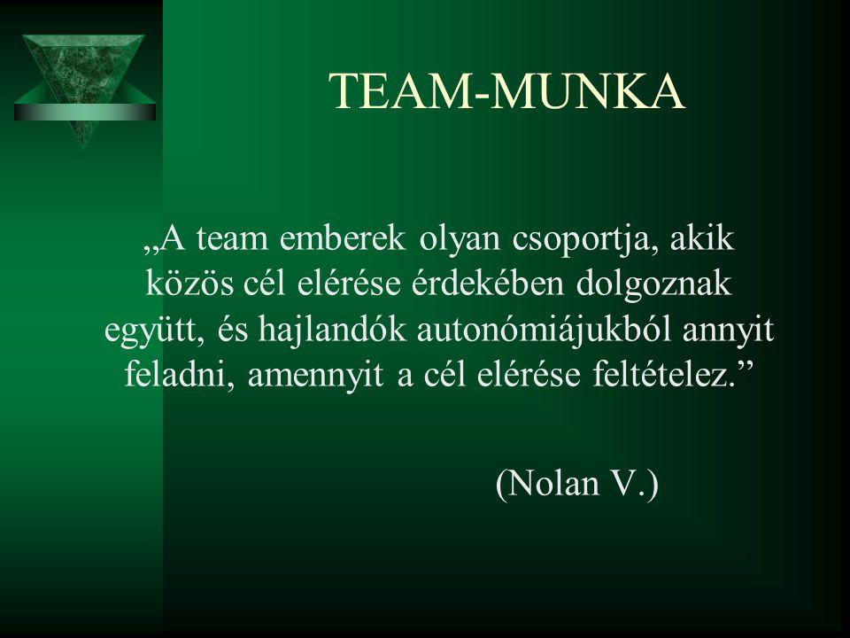 """TEAM-MUNKA """"A team emberek olyan csoportja, akik közös cél elérése érdekében dolgoznak együtt, és hajlandók autonómiájukból annyit feladni, amennyit a"""
