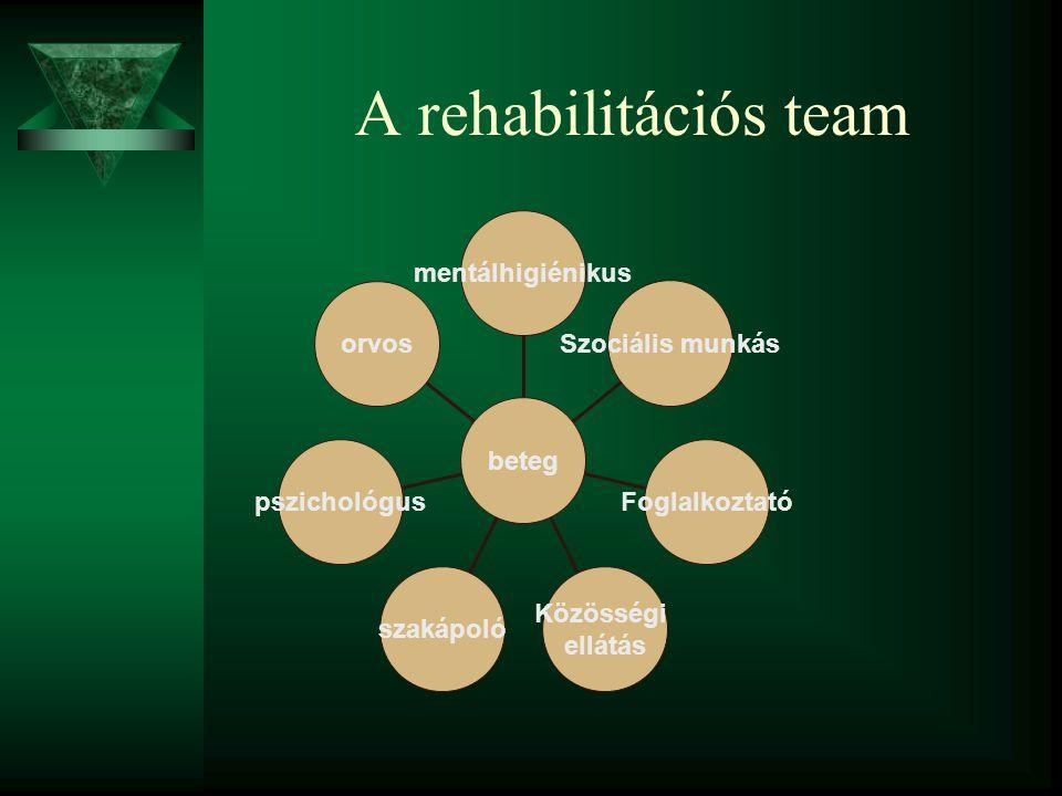 A rehabilitációs team mentálhigiénikus Szociális munkás Foglalkoztató Közösségi ellátás szakápoló pszichológus orvos beteg