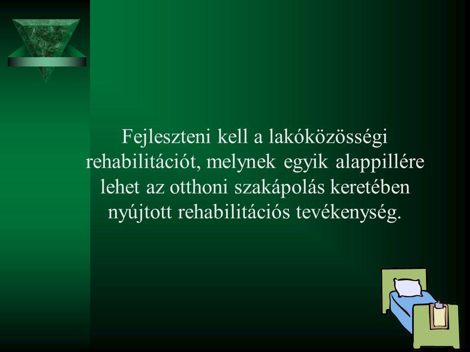 Fejleszteni kell a lakóközösségi rehabilitációt, melynek egyik alappillére lehet az otthoni szakápolás keretében nyújtott rehabilitációs tevékenység.