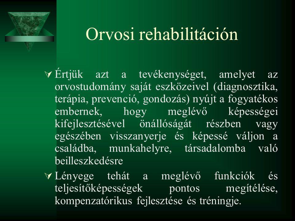 Orvosi rehabilitáción  Értjük azt a tevékenységet, amelyet az orvostudomány saját eszközeivel (diagnosztika, terápia, prevenció, gondozás) nyújt a fo