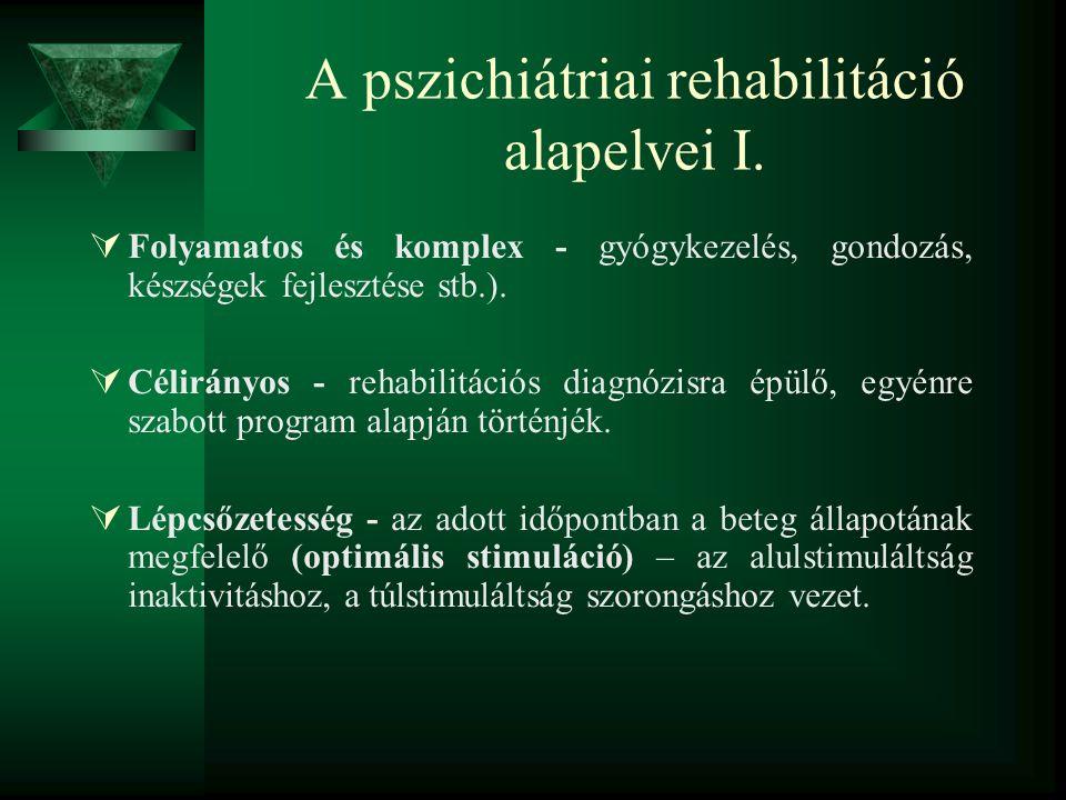 A pszichiátriai rehabilitáció alapelvei I.  Folyamatos és komplex - gyógykezelés, gondozás, készségek fejlesztése stb.).  Célirányos - rehabilitáció