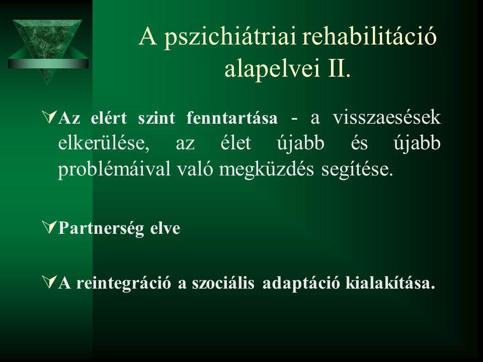 A pszichiátriai rehabilitáció alapelvei II.  Az elért szint fenntartása - a visszaesések elkerülése, az élet újabb és újabb problémáival való megküzd