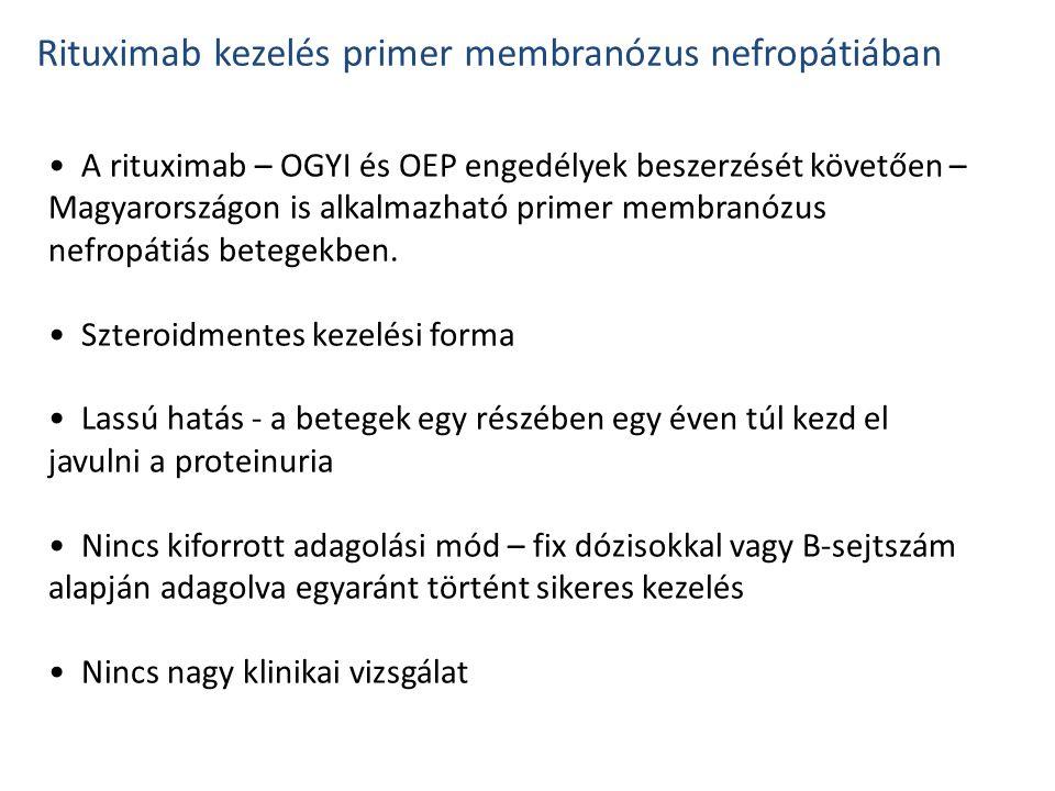 A rituximab – OGYI és OEP engedélyek beszerzését követően – Magyarországon is alkalmazható primer membranózus nefropátiás betegekben. Szteroidmentes k