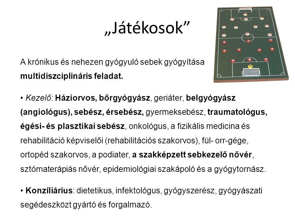 """""""Játékosok"""" A krónikus és nehezen gyógyuló sebek gyógyítása multidiszciplináris feladat. Kezelő: Háziorvos, bőrgyógyász, geriáter, belgyógyász (angiol"""