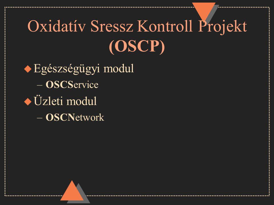 Oxidatív Sressz Kontroll Projekt (OSCP) u Egészségügyi modul –OSCService u Üzleti modul –OSCNetwork