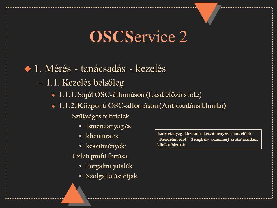 OSCService 2 u 1. Mérés - tanácsadás - kezelés –1.1.