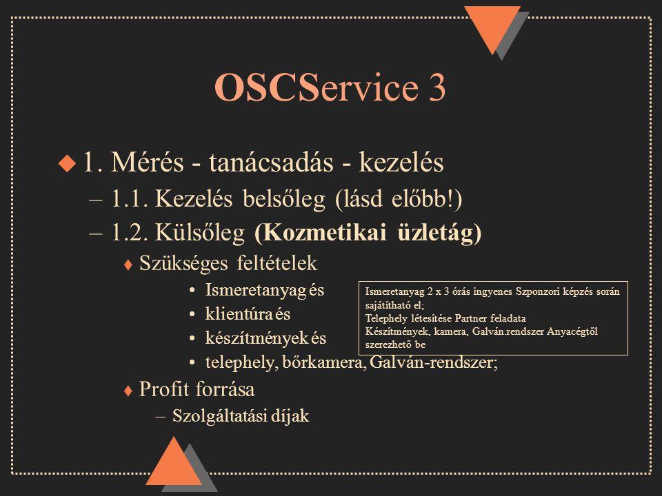 OSCService 3 u 1. Mérés - tanácsadás - kezelés –1.1.