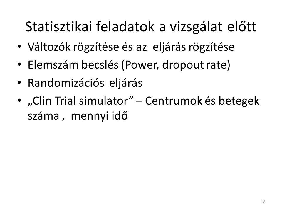 """Statisztikai feladatok a vizsgálat előtt Változók rögzítése és az eljárás rögzítése Elemszám becslés (Power, dropout rate) Randomizációs eljárás """"Clin"""