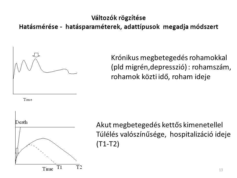 13 Változók rögzítése Hatásmérése - hatásparaméterek, adattípusok megadja módszert Krónikus megbetegedés rohamokkal (pld migrén,depresszió) : rohamszá