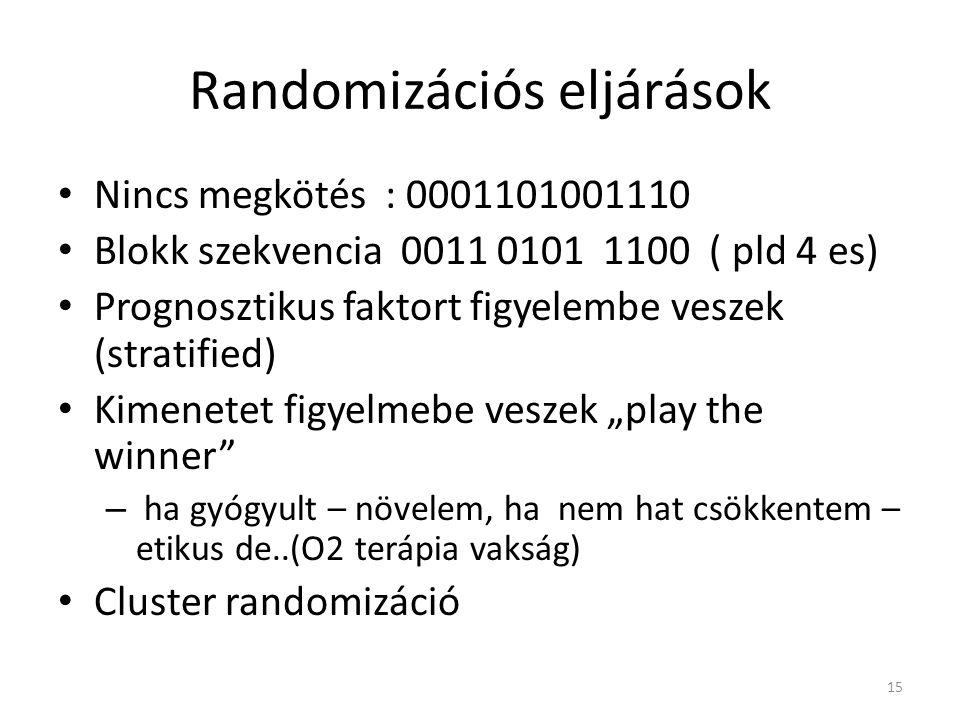 Randomizációs eljárások Nincs megkötés : 0001101001110 Blokk szekvencia 0011 0101 1100 ( pld 4 es) Prognosztikus faktort figyelembe veszek (stratified