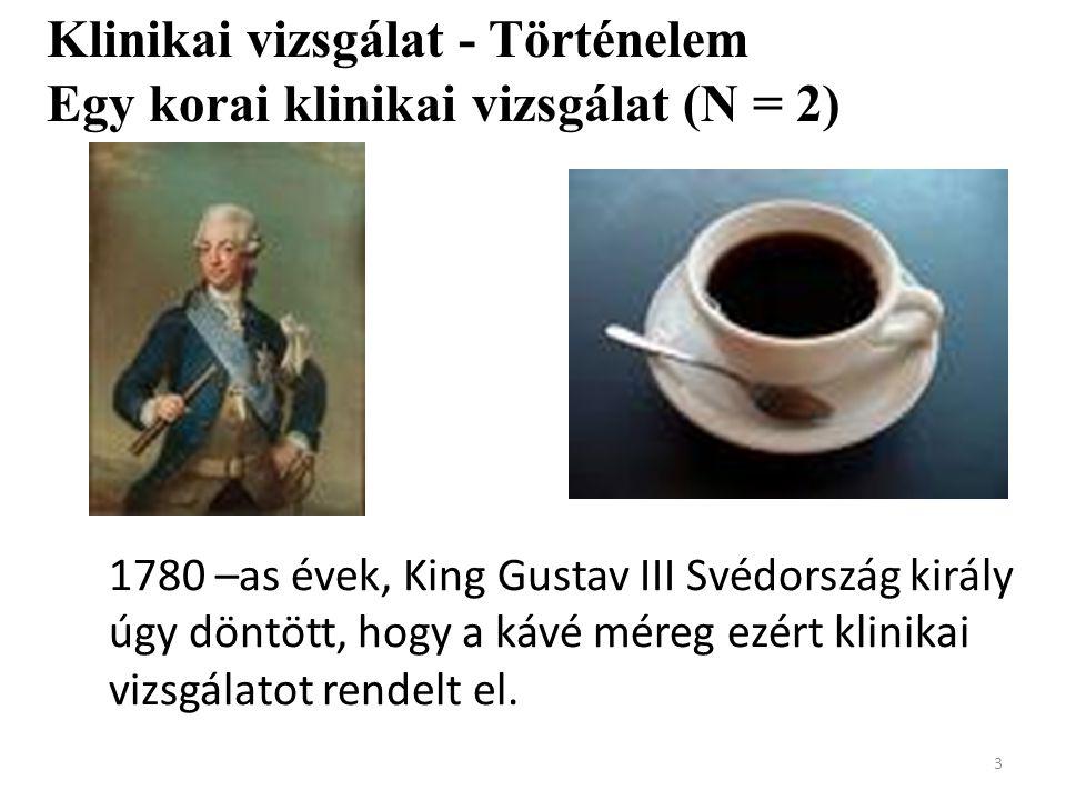 3 1780 –as évek, King Gustav III Svédország király úgy döntött, hogy a kávé méreg ezért klinikai vizsgálatot rendelt el. Klinikai vizsgálat - Történel