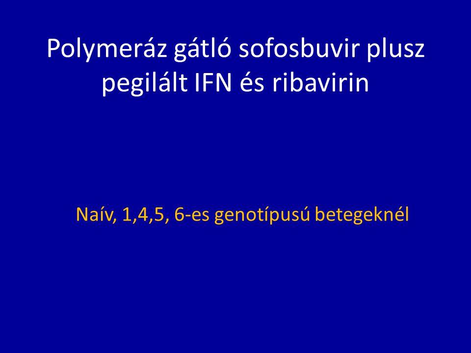 Naív, 1,4,5, 6-es genotípusú betegeknél Polymeráz gátló sofosbuvir plusz pegilált IFN és ribavirin