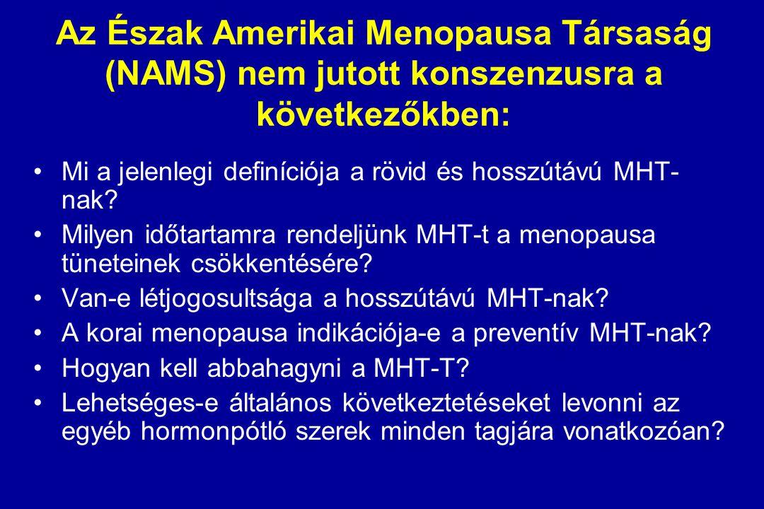 Az Észak Amerikai Menopausa Társaság (NAMS) nyilatkozata a hormonpótlás kérdéskörében I. A menopausa tüneteinek kezelése marad a primer indikáció A pr