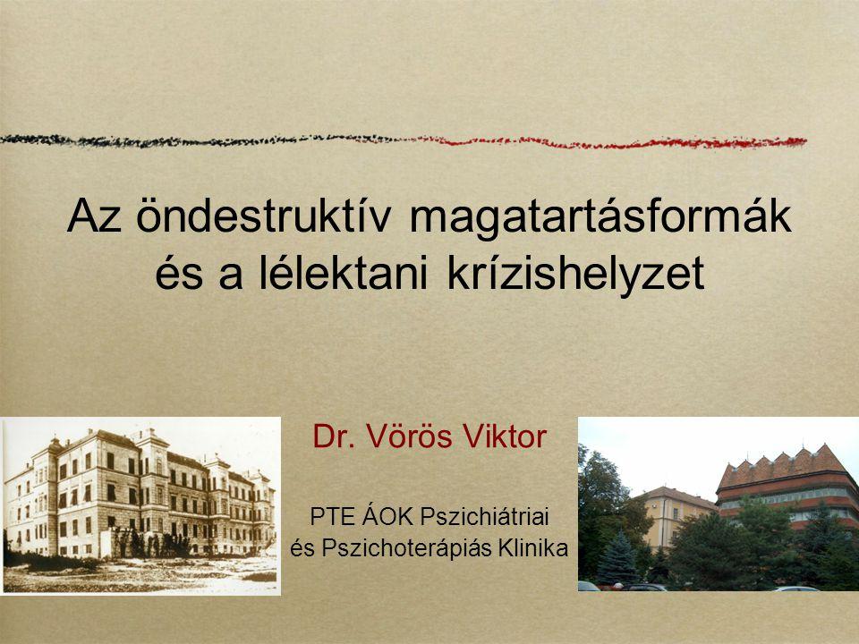 Az öndestruktív magatartásformák és a lélektani krízishelyzet Dr. Vörös Viktor PTE ÁOK Pszichiátriai és Pszichoterápiás Klinika