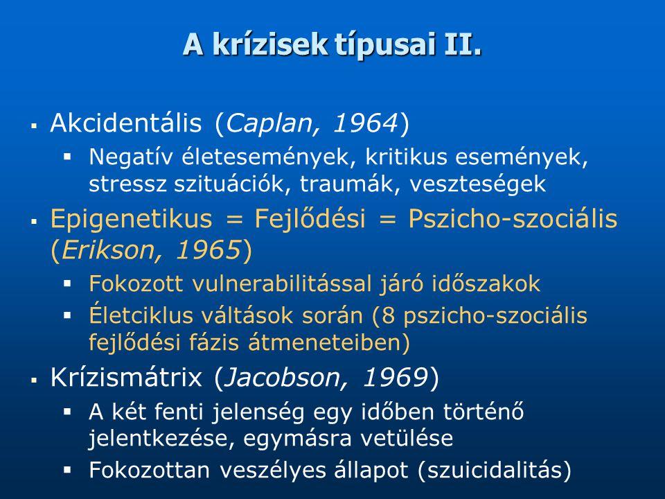 A krízisek típusai II.   Akcidentális (Caplan, 1964)   Negatív életesemények, kritikus események, stressz szituációk, traumák, veszteségek   Epi