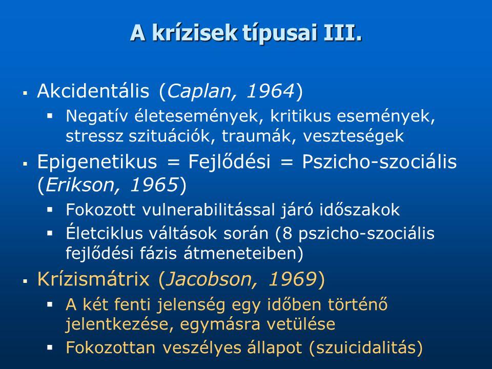 A krízisek típusai III.   Akcidentális (Caplan, 1964)   Negatív életesemények, kritikus események, stressz szituációk, traumák, veszteségek   Ep