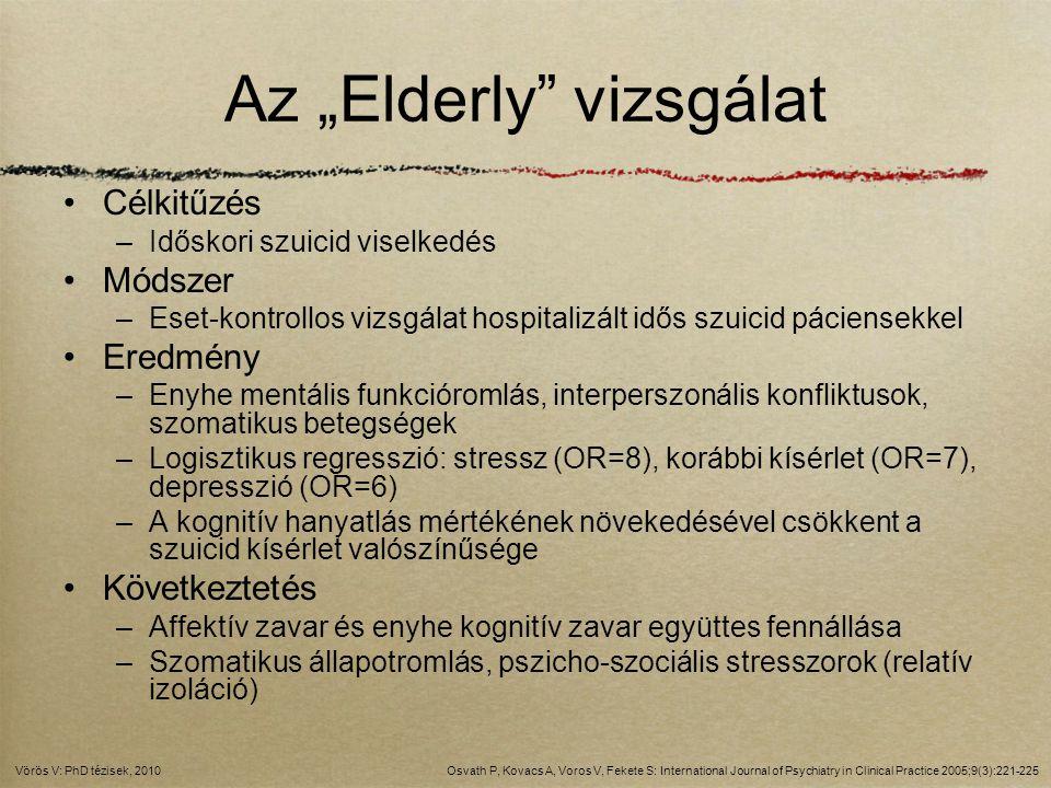 """Az """"Elderly"""" vizsgálat Célkitűzés –Időskori szuicid viselkedés Módszer –Eset-kontrollos vizsgálat hospitalizált idős szuicid páciensekkel Eredmény –En"""