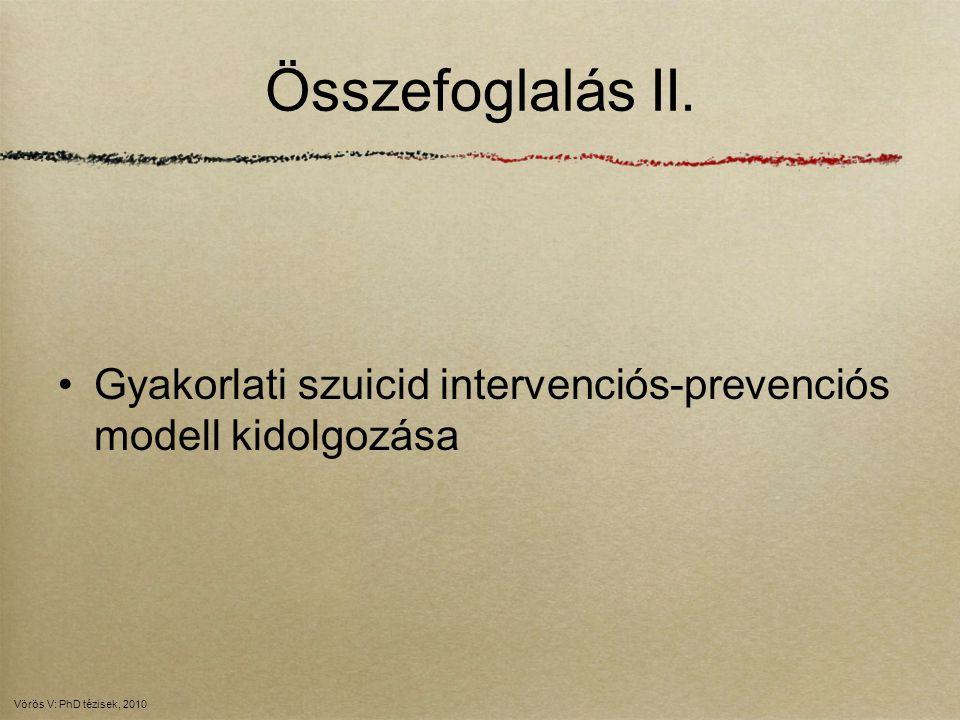 Összefoglalás II. Gyakorlati szuicid intervenciós-prevenciós modell kidolgozása Vörös V: PhD tézisek, 2010