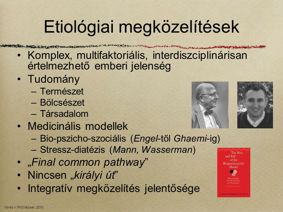 A bio-pszicho-szociális modell Biológiai (genetika, neurobiológia, neuroendokrin, neuroimaging) –Prefrontális kortex - hippokampusz - centrális amygdala - HPA tengely –Szerotonin Pszichológiai (analitikus, kognitív, krizeológiai) –Negatív életesemények (abúzus, trauma, stressz) –Mentális zavarok/temperamentum –Krízis koncepció Szociális/szociológiai –Társadalom, kultúra, nyelv, művészet, média, diszkurzív szuicidológia, transzgenerációs hatások, modell-effektus, stigma Vörös V: PhD tézisek, 2010