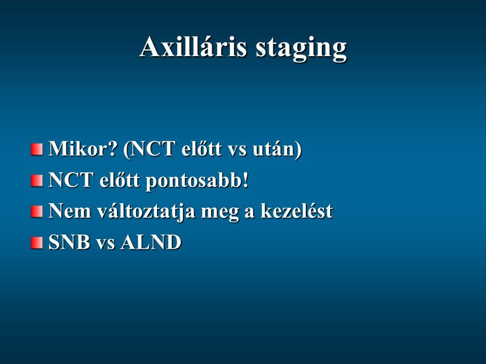 Axilláris staging Mikor? (NCT előtt vs után) NCT előtt pontosabb! Nem változtatja meg a kezelést SNB vs ALND