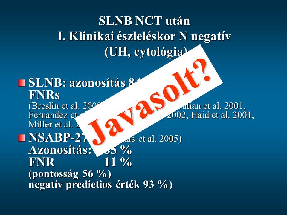 SLNB NCT után I. Klinikai észleléskor N negatív (UH, cytológia) SLNB: azonosítás 84-94 % FNRs0-33 % (Breslin et al. 2000, Nason et al. 2000, Julian et