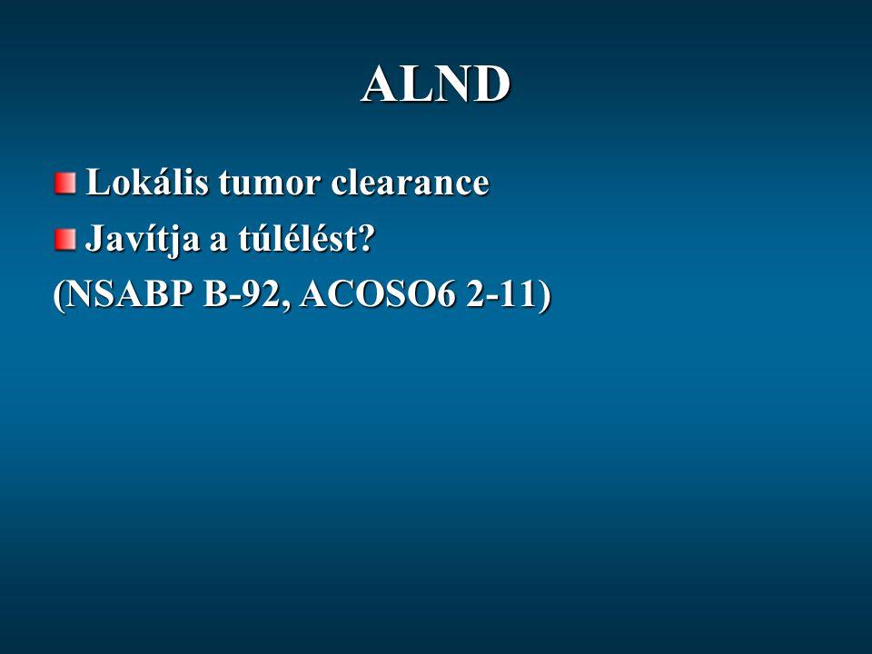 ALND Lokális tumor clearance Javítja a túlélést? (NSABP B-92, ACOSO6 2-11)