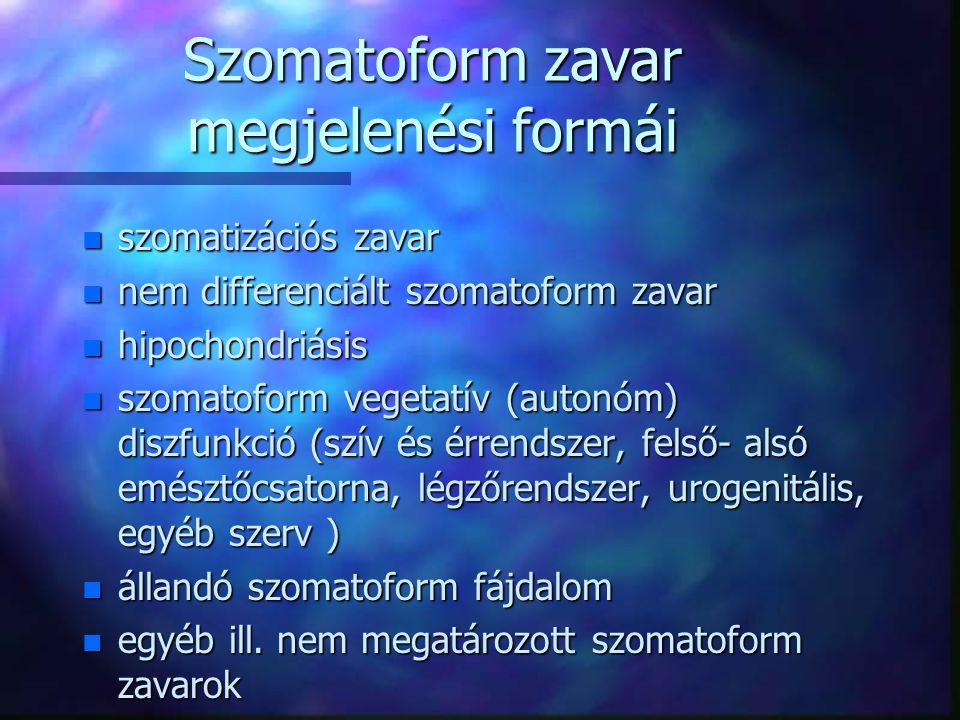 """""""Funkcionális"""" tünetegyüttes n A konverziós tünetektől eltérően az egyes tüneteknek nincs sajátos jelentése, azok csupán a megzavart testi funkció nem"""