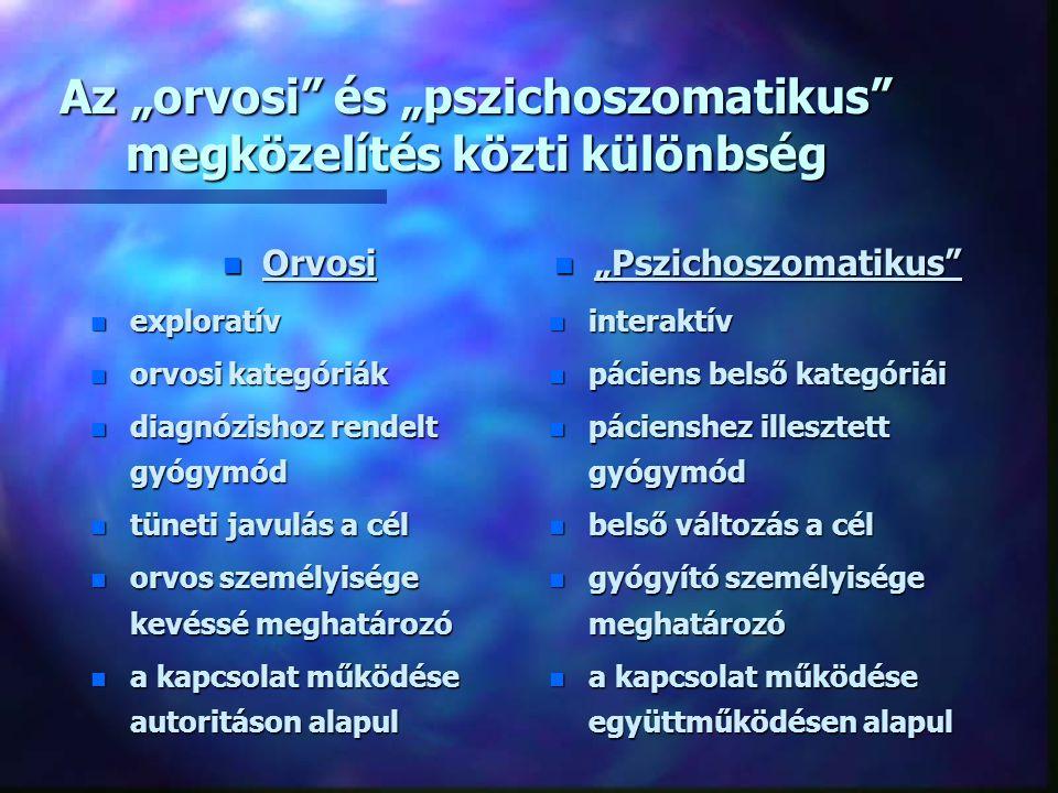 Mi a pszichoszomatika ? n Holisztikus szemléletmód n Azon testi tünetekkel és/vagy elváltozásokkal járó betegségek gyűjtő fogalma, melyek eredete pszi