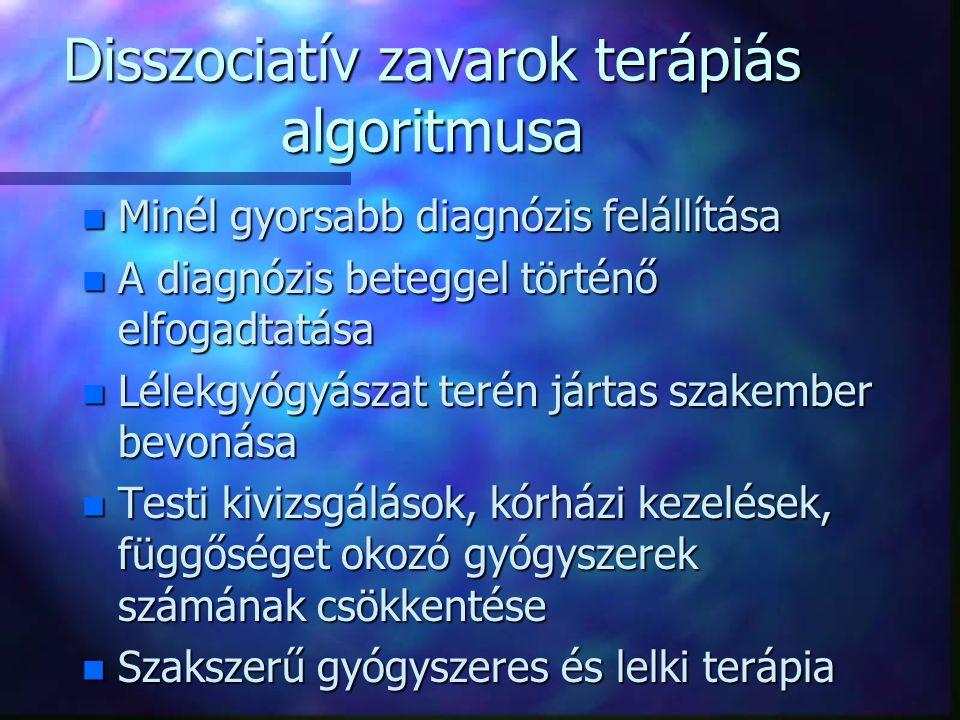 Disszociatív zavarok megjelenési formái n amnezia n fúga n stupor n transz(szerű) és megszállottsági állapotok n mozgás- és érzészavarok n konvulziók