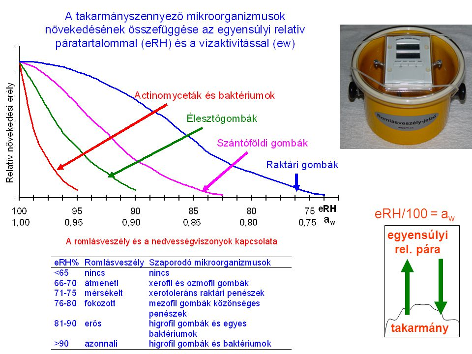 takarmány egyensúlyi rel. pára eRH/100 = a w