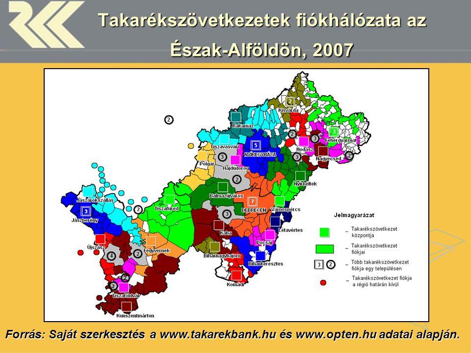 Takarékszövetkezetek fiókhálózata az Észak-Alföldön, 2007 Forrás: Saját szerkesztés a www.takarekbank.hu és www.opten.hu adatai alapján.