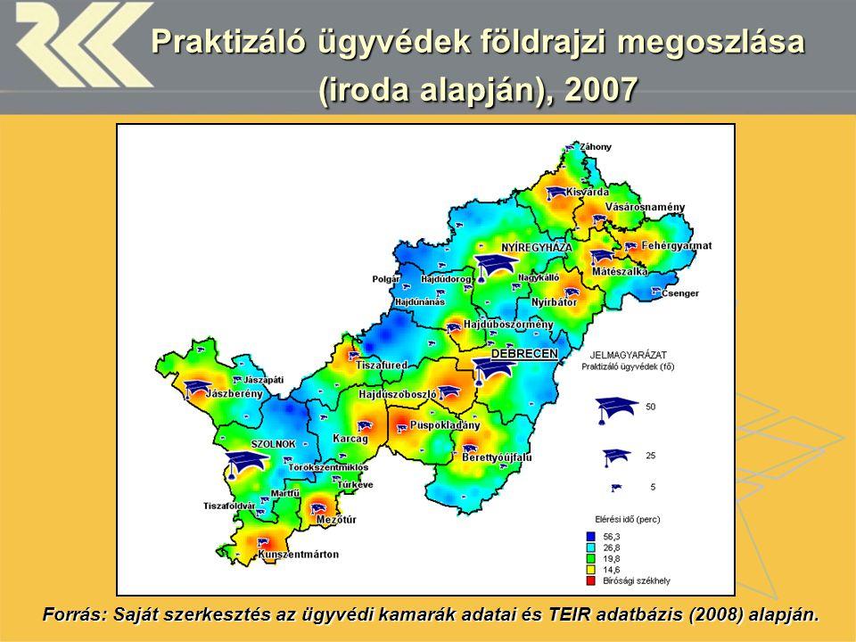Praktizáló ügyvédek földrajzi megoszlása (iroda alapján), 2007 Forrás: Saját szerkesztés az ügyvédi kamarák adatai és TEIR adatbázis (2008) alapján.