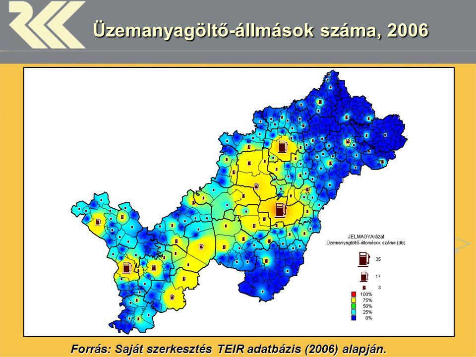 Üzemanyagöltő-állmások száma, 2006 Forrás: Saját szerkesztés TEIR adatbázis (2006) alapján.