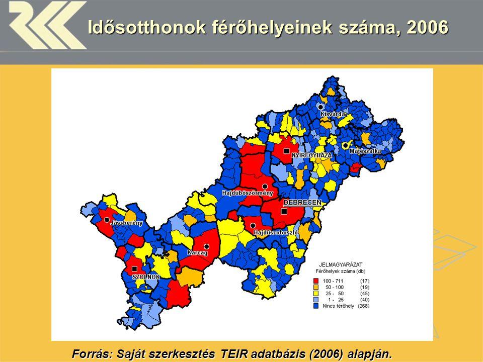 Idősotthonok férőhelyeinek száma, 2006 Forrás: Saját szerkesztés TEIR adatbázis (2006) alapján.