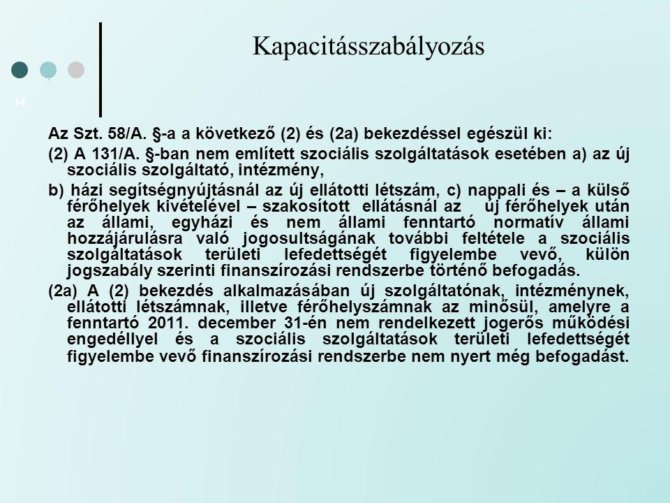 Kapacitásszabályozás 14 Az Szt. 58/A. §-a a következő (2) és (2a) bekezdéssel egészül ki: (2) A 131/A. §-ban nem említett szociális szolgáltatások ese