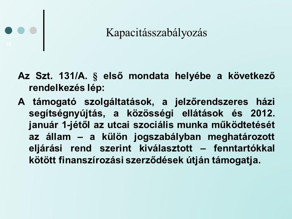 Kapacitásszabályozás 15 Az Szt. 131/A. § első mondata helyébe a következő rendelkezés lép: A támogató szolgáltatások, a jelzőrendszeres házi segítségn