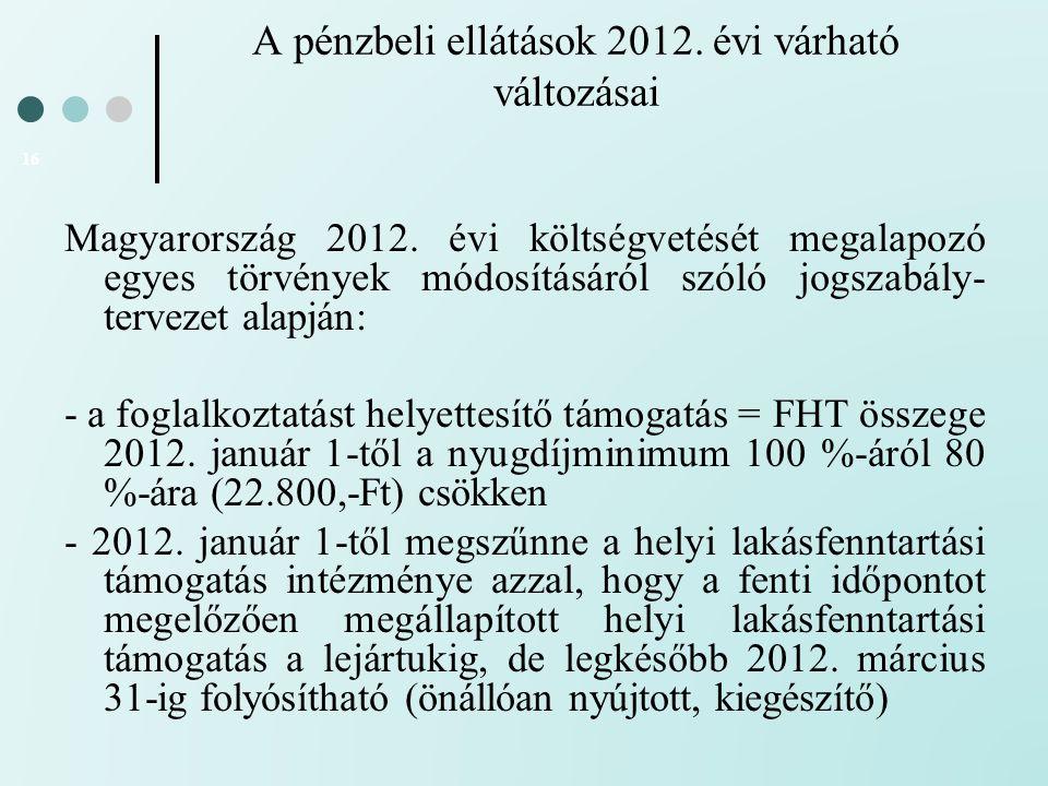 A pénzbeli ellátások 2012. évi várható változásai 16 Magyarország 2012. évi költségvetését megalapozó egyes törvények módosításáról szóló jogszabály-