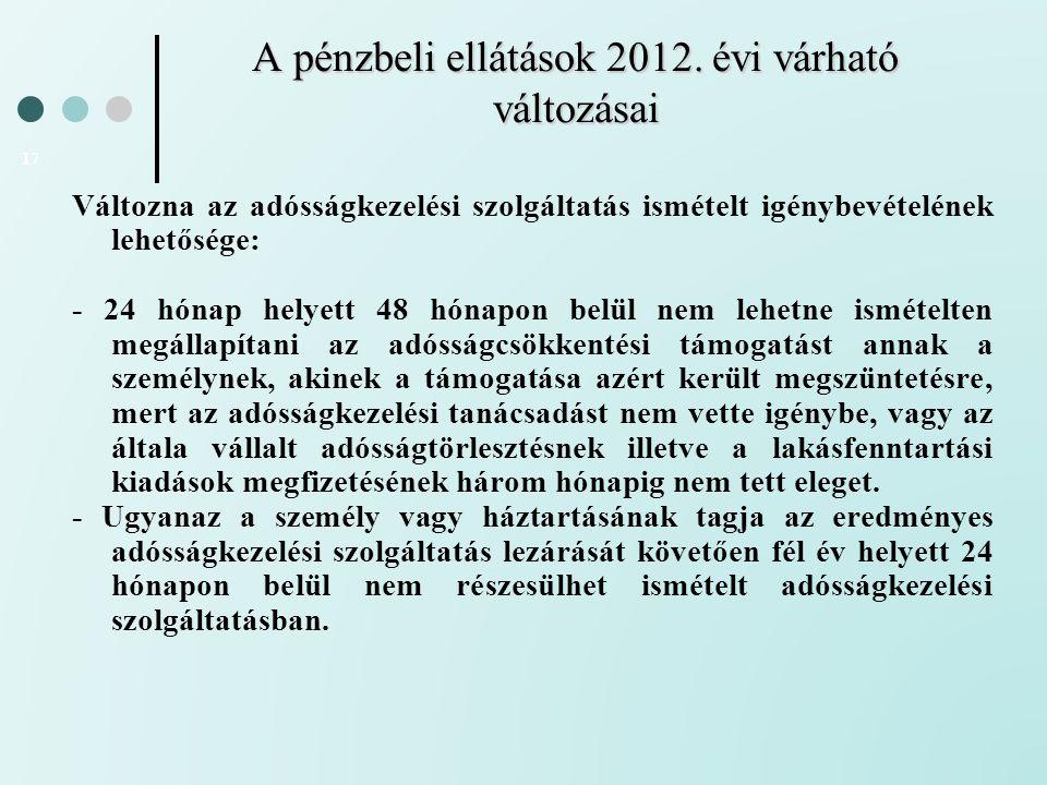 A pénzbeli ellátások 2012. évi várható változásai 17 Változna az adósságkezelési szolgáltatás ismételt igénybevételének lehetősége: - 24 hónap helyett