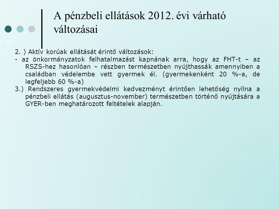 A pénzbeli ellátások 2012. évi várható változásai 19 2. ) Aktív korúak ellátását érintő változások: - az önkormányzatok felhatalmazást kapnának arra,