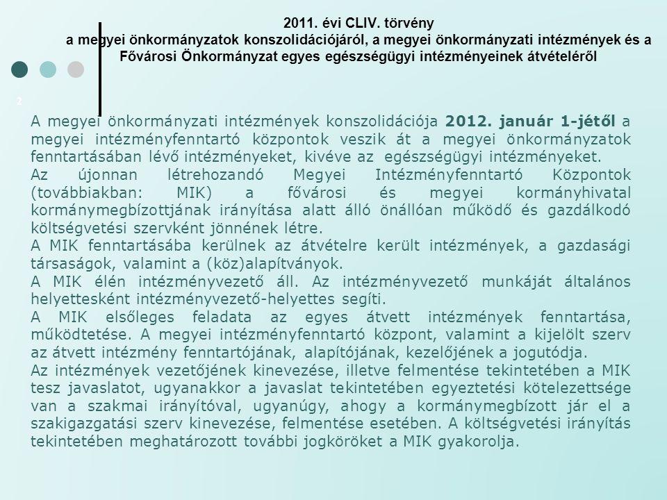 2011. évi CLIV. törvény a megyei önkormányzatok konszolidációjáról, a megyei önkormányzati intézmények és a Fővárosi Önkormányzat egyes egészségügyi i