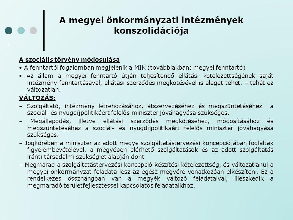 A megyei önkormányzati intézmények konszolidációja 4 A szociális törvény módosulása A fenntartói fogalomban megjelenik a MIK (továbbiakban: megyei fen