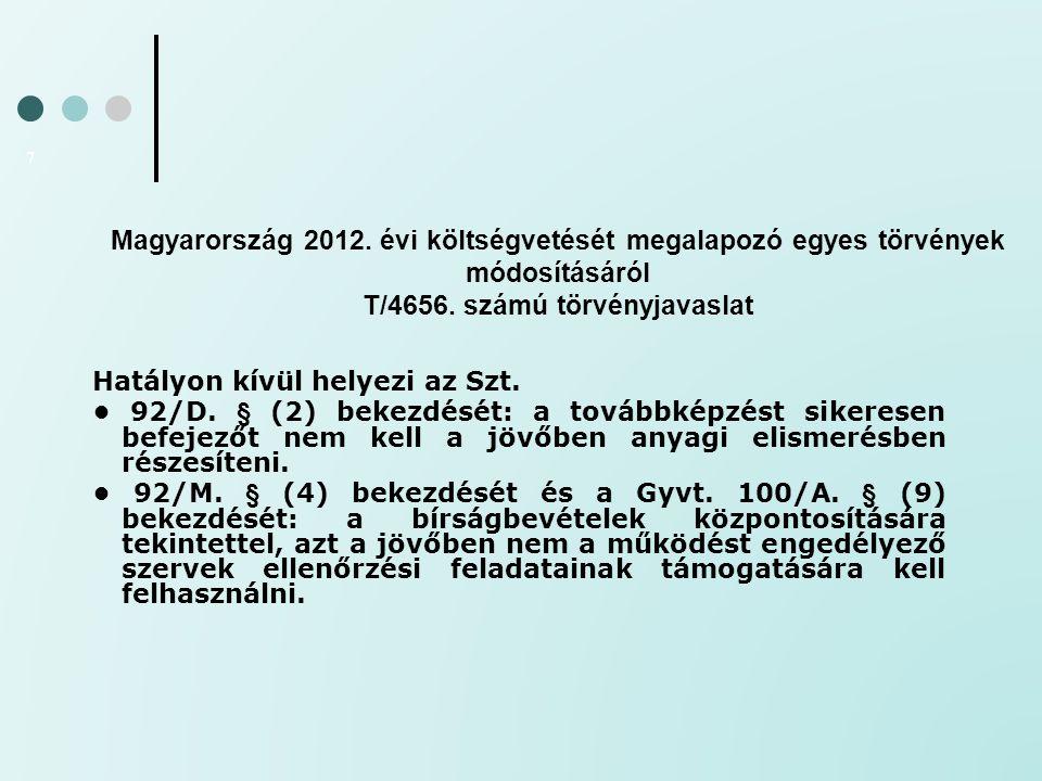 Magyarország 2012. évi költségvetését megalapozó egyes törvények módosításáról T/4656. számú törvényjavaslat 7 Hatályon kívül helyezi az Szt. 92/D. §
