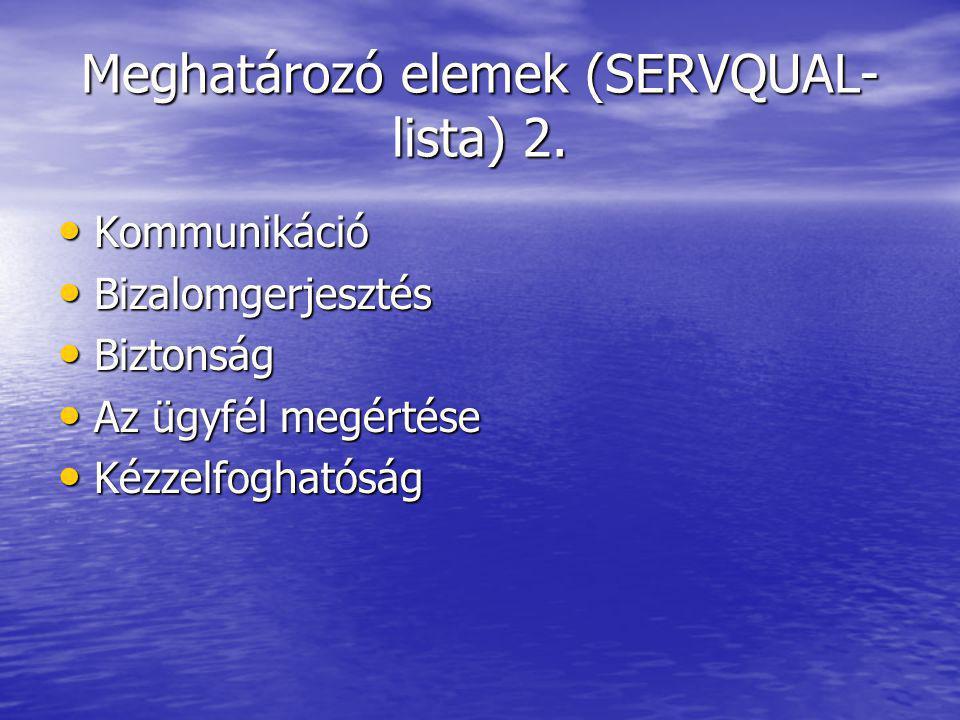 Meghatározó elemek (SERVQUAL- lista) 2.