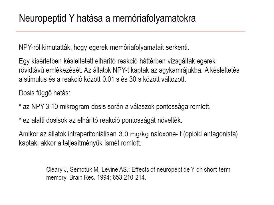 Neuropeptid Y hatása a memóriafolyamatokra NPY-ról kimutatták, hogy egerek memóriafolyamatait serkenti.