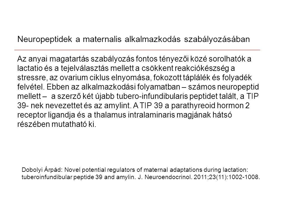 Dobolyi Árpád: Novel potential regulators of maternal adaptations during lactation: tuberoinfundibular peptide 39 and amylin.