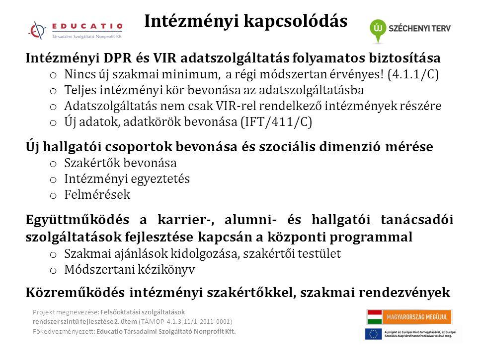 Intézményi kapcsolódás Projekt megnevezése: Felsőoktatási szolgáltatások rendszer szintű fejlesztése 2.