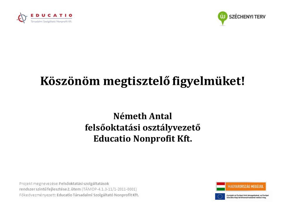 Projekt megnevezése: Felsőoktatási szolgáltatások rendszer szintű fejlesztése 2.