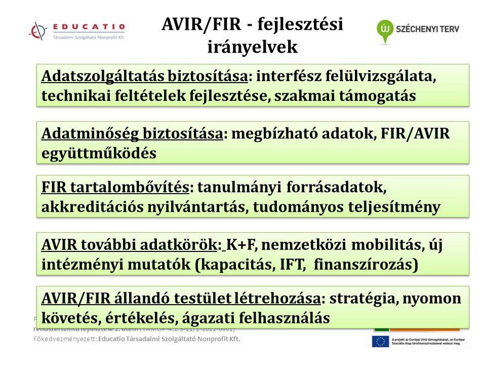 AVIR/FIR - fejlesztési irányelvek Projekt megnevezése: Felsőoktatási szolgáltatások rendszerszintű fejlesztése 2.