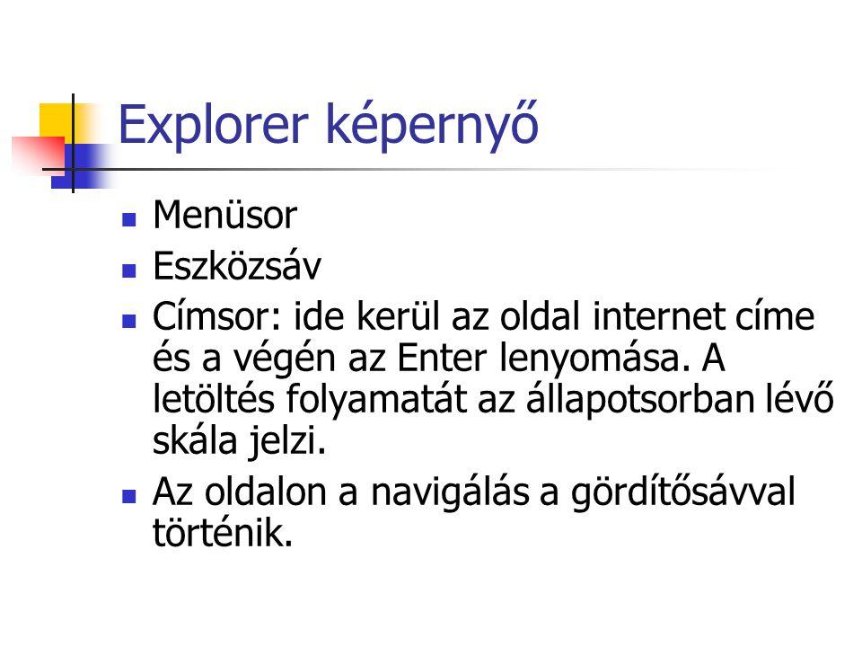 Explorer képernyő Menüsor Eszközsáv Címsor: ide kerül az oldal internet címe és a végén az Enter lenyomása.