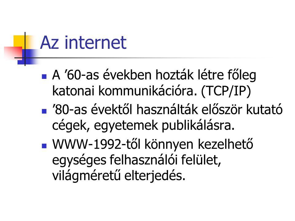 Az internet A '60-as években hozták létre főleg katonai kommunikációra.